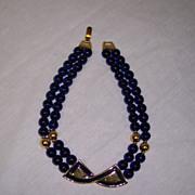 Napier Blue Enamel & 2 Strand Glass Bead Necklace