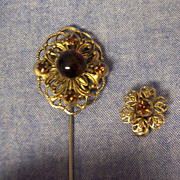 Great Miriam Haskell Gold Filagree Stick Pin