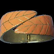 SALE Leaf Hinged Clamper Bracelet Coral Enamel