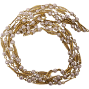 Trifari 2 Strand Faux Pearl Golden Filigree Necklace