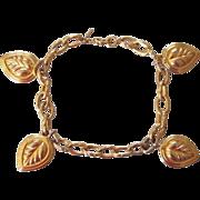 Monet Puffy Leaf Charm Bracelet Goldtone