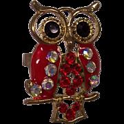 Large Red Enamel & Rhinestone Owl Adjustable Ring