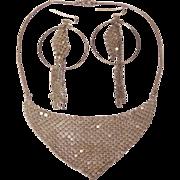 Mesh Bib Necklace & Hoop Earrings Set -  Silver Tone