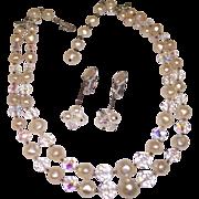 Laguna Necklace & Lewis Segal Earrings Faux Pearl & Crystal