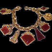 SALE Victorian Revival Faux Carnelian Fob Charm Bracelet