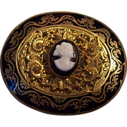 SALE Vintage Victorian Revival Enamel and Cameo Brooch Gold tone