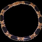 Monet Black Enamel and Gold tone Necklace