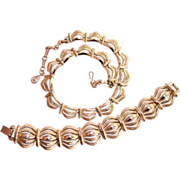 Coro Necklace & Bracelet Set Pegasus Gold tone
