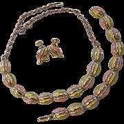 Vintage Spring Colors Enamel Necklace Bracelet Earrings Set