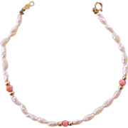 Delicate Freshwater Pearl and Coral Bracelet 14K Clasp