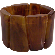 Faux Amber Tortoise Shell Lucite Stretch Bracelet