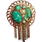 SALE Faux Jade Peking Glass and Pearl Brooch with Tassels