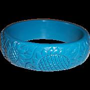 REDUCED Beautiful Turquoise Blue Plastic Sunflower Bangle Bracelet