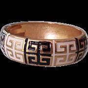 Black & White Enamel Gold tone Greek Key Bangle Bracelet