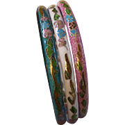 REDUCED Set of 3 Pastel Cloisonne Bangle Bracelets