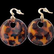 Faux Tortoise Shell Disc Hoop Earrings Pierced