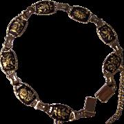 Damascene Bird & Floral Link Bracelet