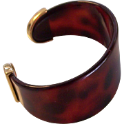 Beautiful Lucite Plastic Tortoise shell Cuff with Gold tone Ends Bracelet