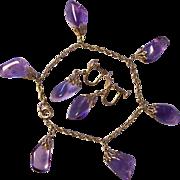 Gold Filled Amethyst Type Charm Bracelet & Earrings Set