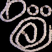 Fresh Water Pearl w/ 14K Gold Clasps Necklace Earrings Bracelet Set