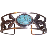 Sterling Silver Native American Southwestern Style Turquoise Cuff Bracelet