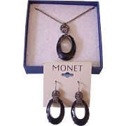 Monet Black & Gunmetal w/ Rhinestones Necklace & Earrings Set