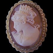 Vintage Shell Cameo 800 Silver Brooch Pendant
