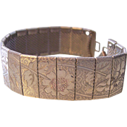 Floral Etched Segmented Mesh Silver tone Bracelet