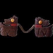 Wooden Scottie Dogs Double Brooch