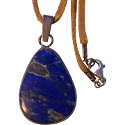 Lapis and Silver Pendant on Leather Strap