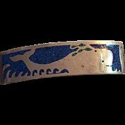 Large Mexican Inlaid Lapis Whale Hair Clip Barrette Alpaca