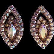 Stunning Large Marquise Aurora Borealis Earrings