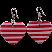 Fun Red & White Striped Heart Earrings
