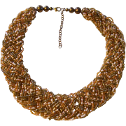 Beautiful Woven Seed Bead Torsade Necklace in Earthtones