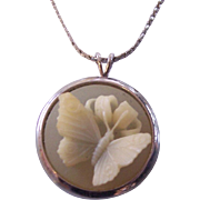 Trifari Butterfly Cameo Pendant Necklace Silver tone