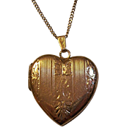 14K Gold Heart Engraved Locket Pendant Inscribed