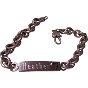 Sterling Silver I.D. Bracelet with 14K Heart Inscribed Heather