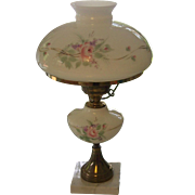 SALE Vintage Hand Painted Roses Parlor Lamp