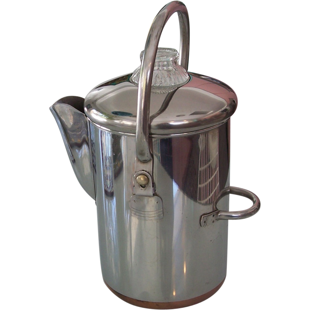 Revere Ware 14 Cup Coffee Percolator Copper Clad Pot From