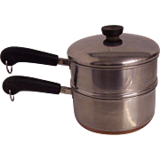 Revere 2 Qt Copper Clad Double Boiler Pot 3 pc