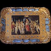 "Pretty Rectangular Italian Florentine Toleware Tray with Print of ""Primavera"""