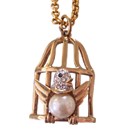 Vintage Carolee Bird in Cage Gold tone Pendant Necklace