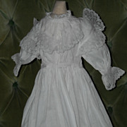 Beautiful Antique White Small Doll Dress