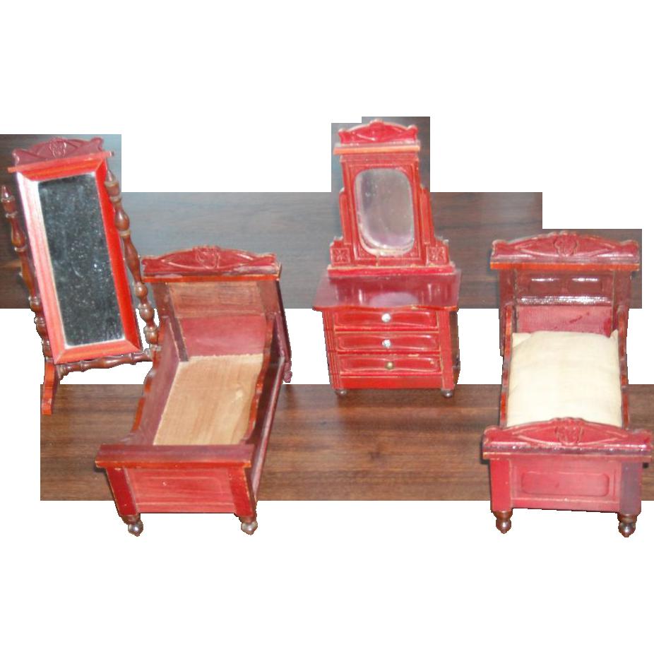 Http Www Rubylane Com Item 882090 D 260 Antique Dollhouse Bedroom Set Schneegas Beds