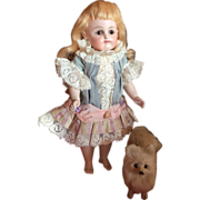 RARE and Perfect Antique Bare Feet All Bisque Kestner Doll with Trousseau