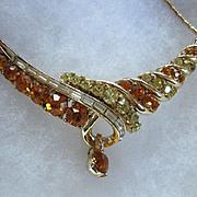 SALE Lovely Coro signed Vintage Golden Topaz Rhinestone Necklace