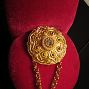 """SALE Vintage Brooch with double chain """"dangle"""" stunning piece!"""