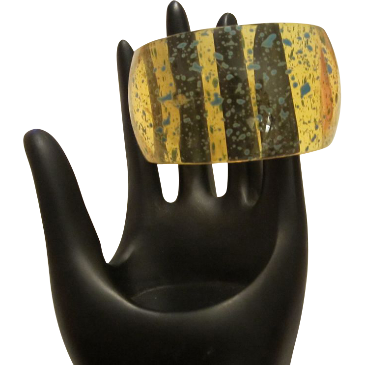 Wide  Funky  Yellow Jello Lucite Bangle Splattered with Blue
