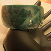 Wide Lucite Bangle faux Malachite color