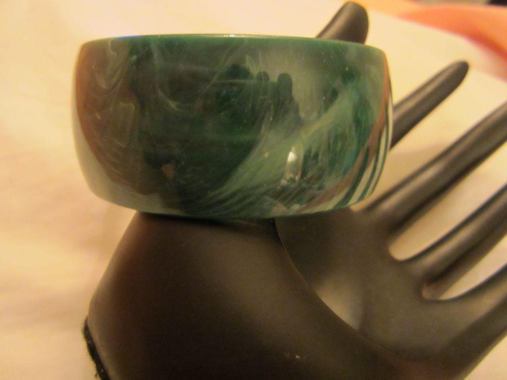 Wide Lucite Bangle faux Malachite color